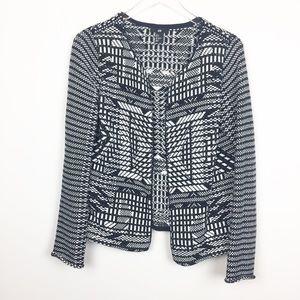 H&M | Unique Tribal Knit Black + White Cardigan